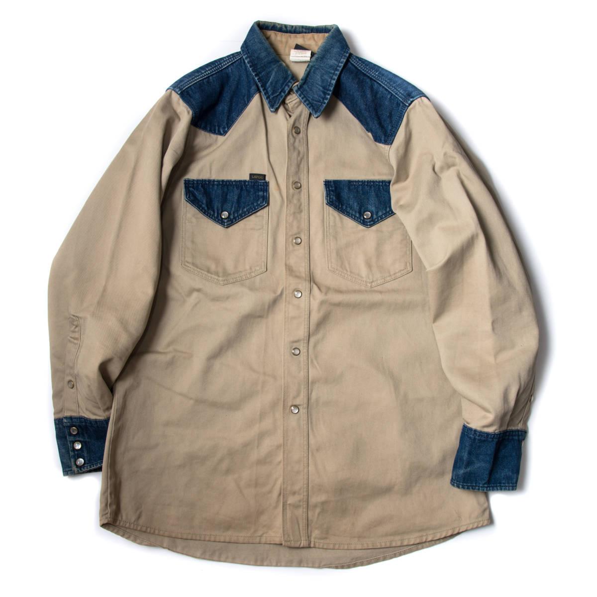 希少 70s ~ USA製 LAPCO デニム & チノ ウエスタン ワーク シャツ 黒タグ / ビンテージ 古着 コットン ジャケット コンビ 長袖 40s 50s 60s