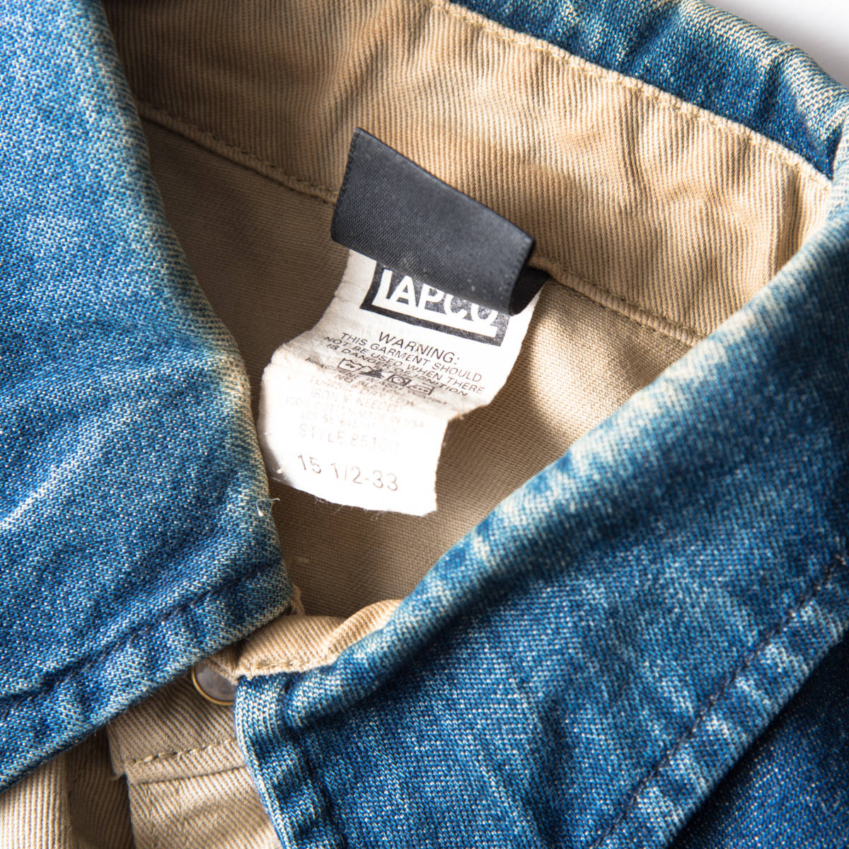 希少 70s ~ USA製 LAPCO デニム & チノ ウエスタン ワーク シャツ 黒タグ / ビンテージ 古着 コットン ジャケット コンビ 長袖 40s 50s 60s_画像4