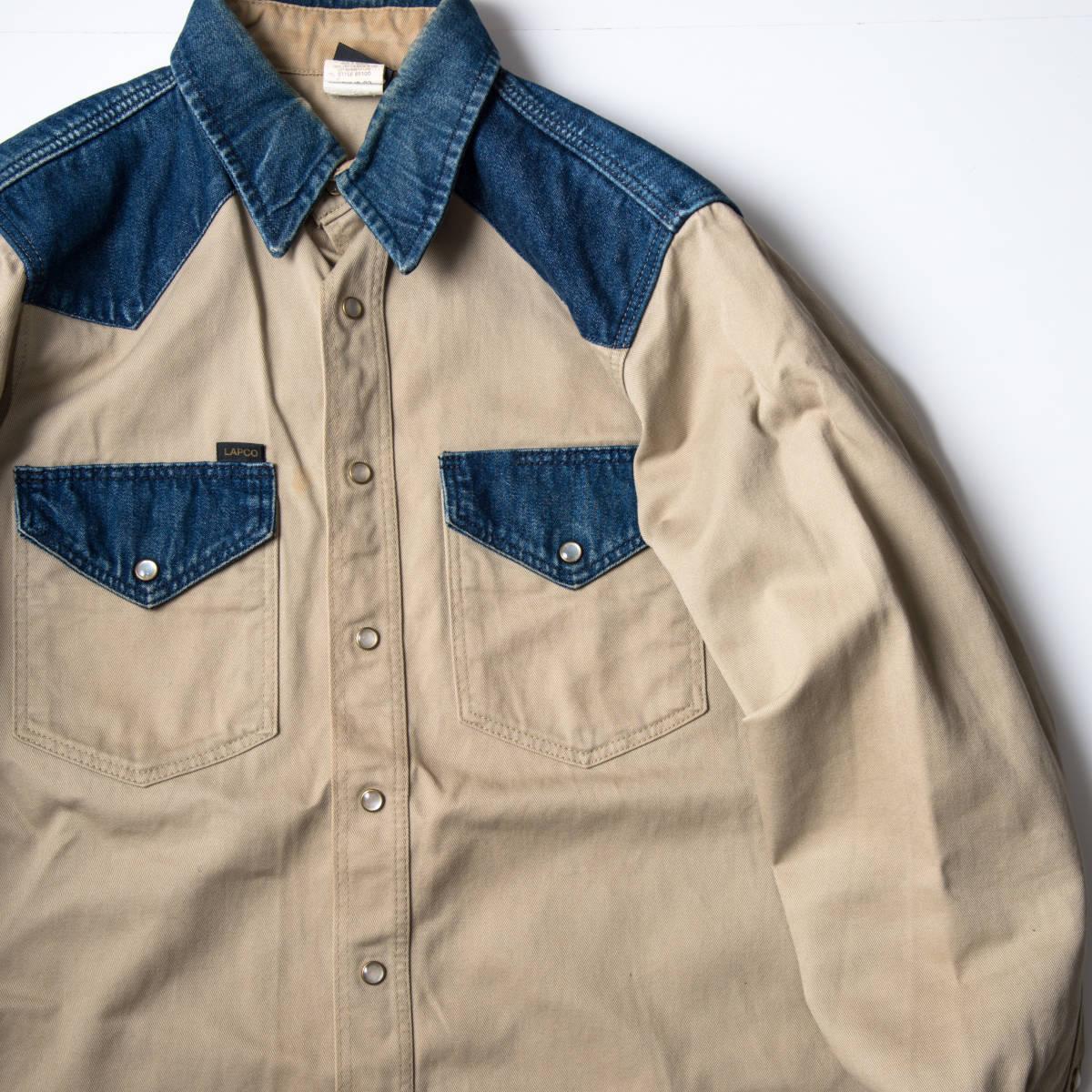 希少 70s ~ USA製 LAPCO デニム & チノ ウエスタン ワーク シャツ 黒タグ / ビンテージ 古着 コットン ジャケット コンビ 長袖 40s 50s 60s_画像3