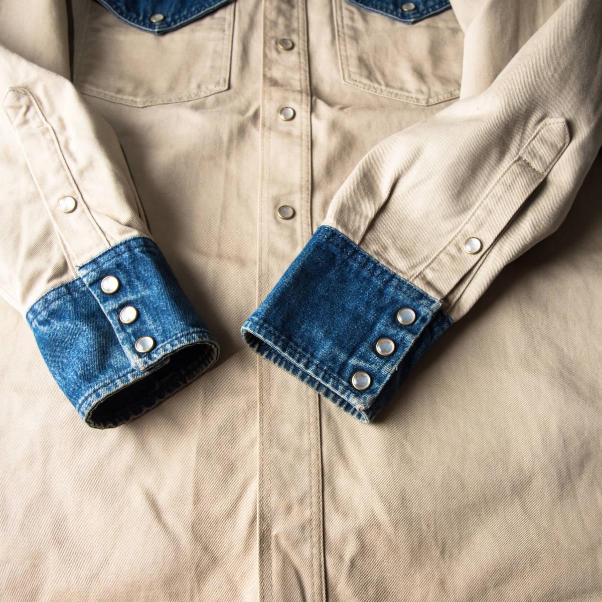 希少 70s ~ USA製 LAPCO デニム & チノ ウエスタン ワーク シャツ 黒タグ / ビンテージ 古着 コットン ジャケット コンビ 長袖 40s 50s 60s_画像5