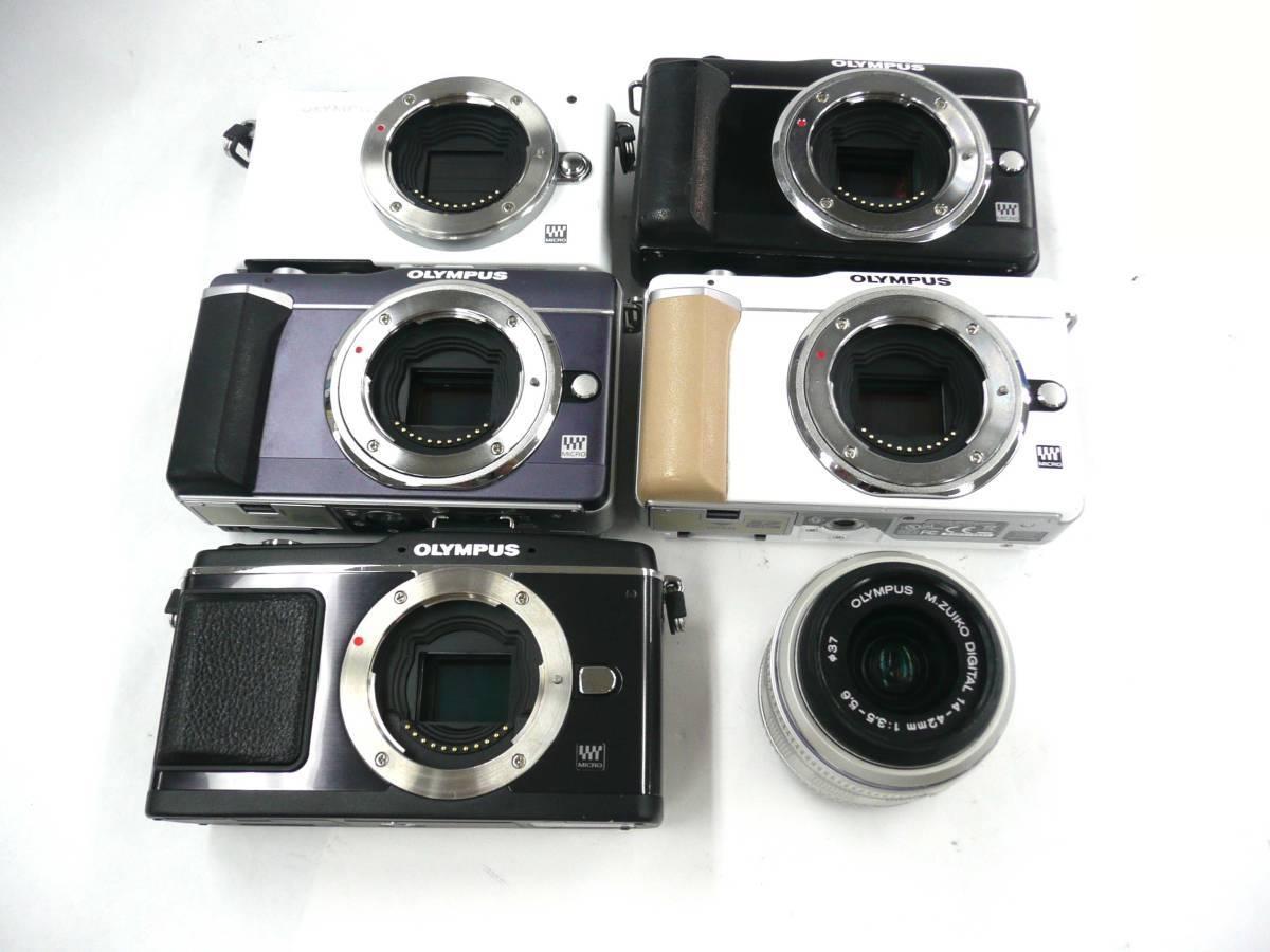 【ジャンク カメラ】 OLYMPUS PEN E-PL1/PL-1s/E-P2 PENMini E-PM1 ボディ5台 M.ZUIKO 14-42mm 3.5-5.6 計6点セット オリンパス (J1403M)