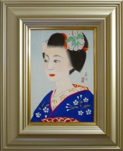 送料無料◆山平貞信◆日本画【舞妓】◆額装 SM 共シール付