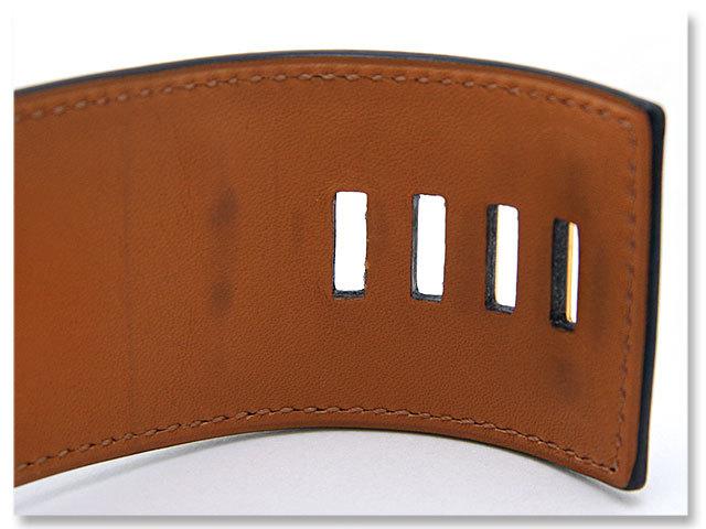 中古美品 エルメス HERMES バングル コリエ ド シアン ブレスレット H068440CC X刻 ブラック ゴールド レザー 革 レア 希少 送料無料_少し薄汚れやシワ、圧迫痕ありますが美品