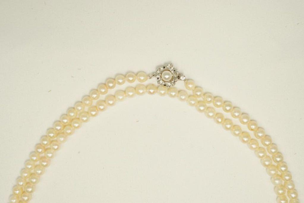 C67 本真珠 パール ソーティング付き ヴィンテージ ネックレス アクセサリー SILVER刻印 アンティーク 装飾品 ペンダント 全長102cm_画像4