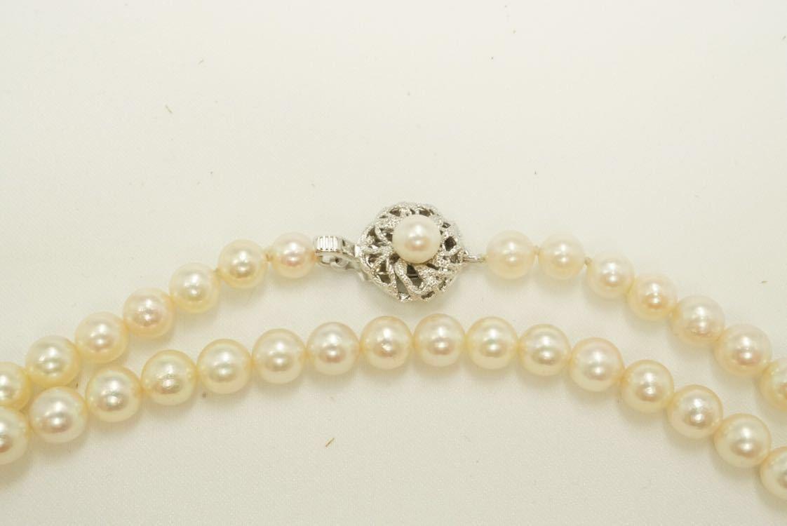 C56 本真珠 パール ソーティング付き ヴィンテージ ネックレス アクセサリー SILVER刻印 アンティーク ビンテージ 装飾品 全長 約136cm_画像6