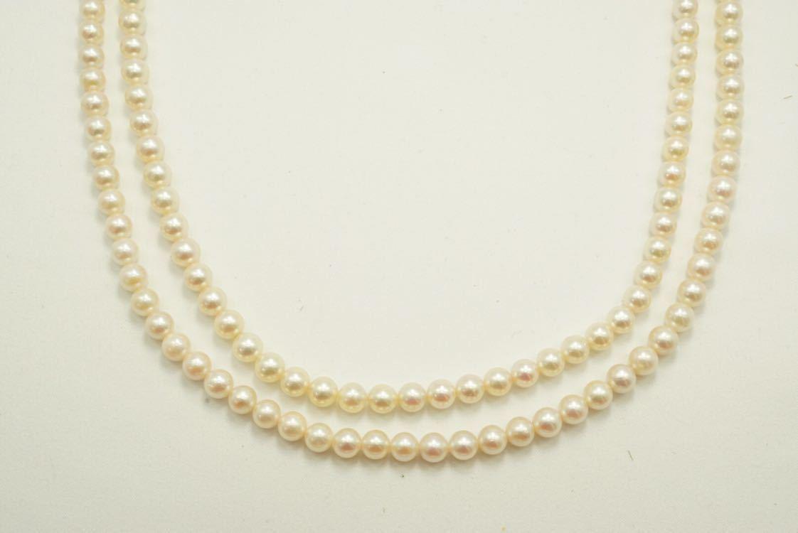 C56 本真珠 パール ソーティング付き ヴィンテージ ネックレス アクセサリー SILVER刻印 アンティーク ビンテージ 装飾品 全長 約136cm_画像3