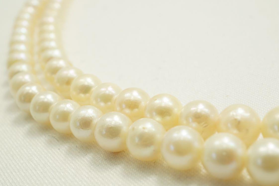 C67 本真珠 パール ソーティング付き ヴィンテージ ネックレス アクセサリー SILVER刻印 アンティーク 装飾品 ペンダント 全長102cm_画像2