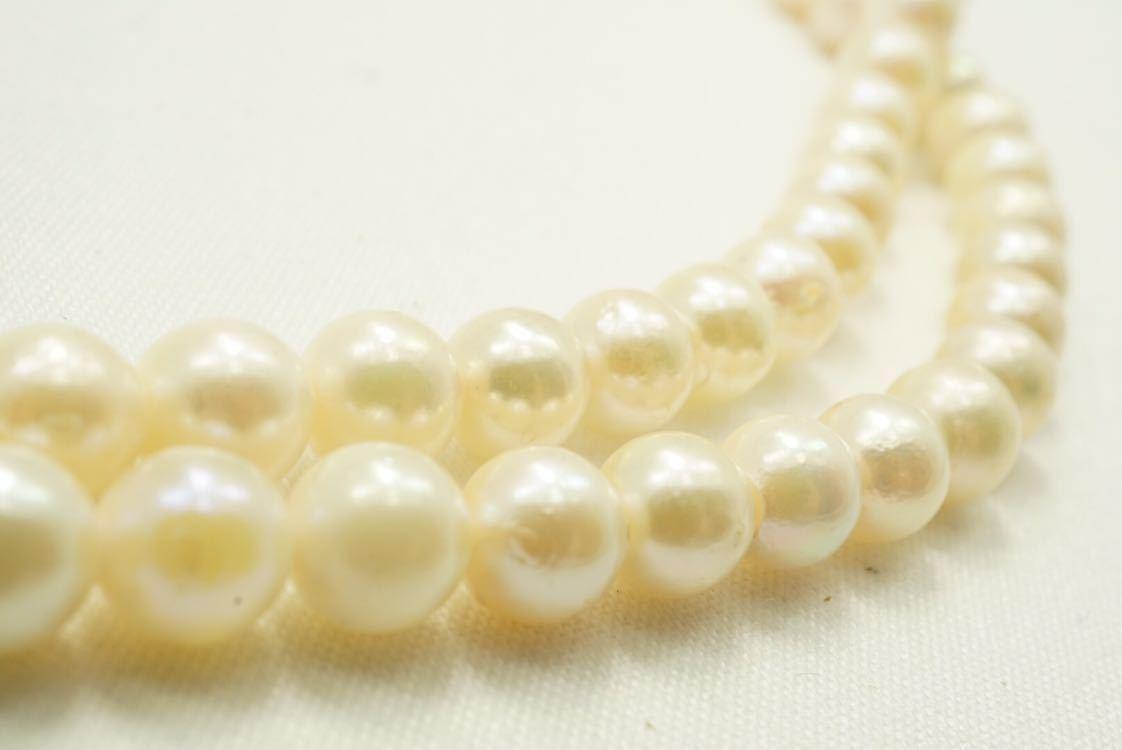 C67 本真珠 パール ソーティング付き ヴィンテージ ネックレス アクセサリー SILVER刻印 アンティーク 装飾品 ペンダント 全長102cm_画像3