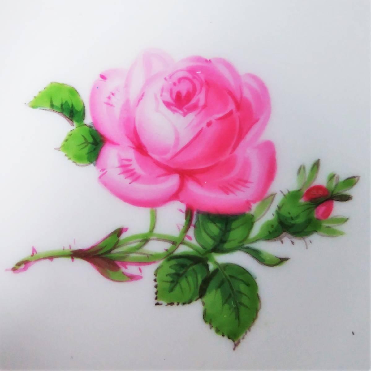 稀少◆Meissen マイセン ピンクローズ 皿 ミニプレート 8cm 2枚セット 119◆ピンクのバラ 薔薇 金彩 小皿 飾皿 デザートプレート ドイツ_画像4
