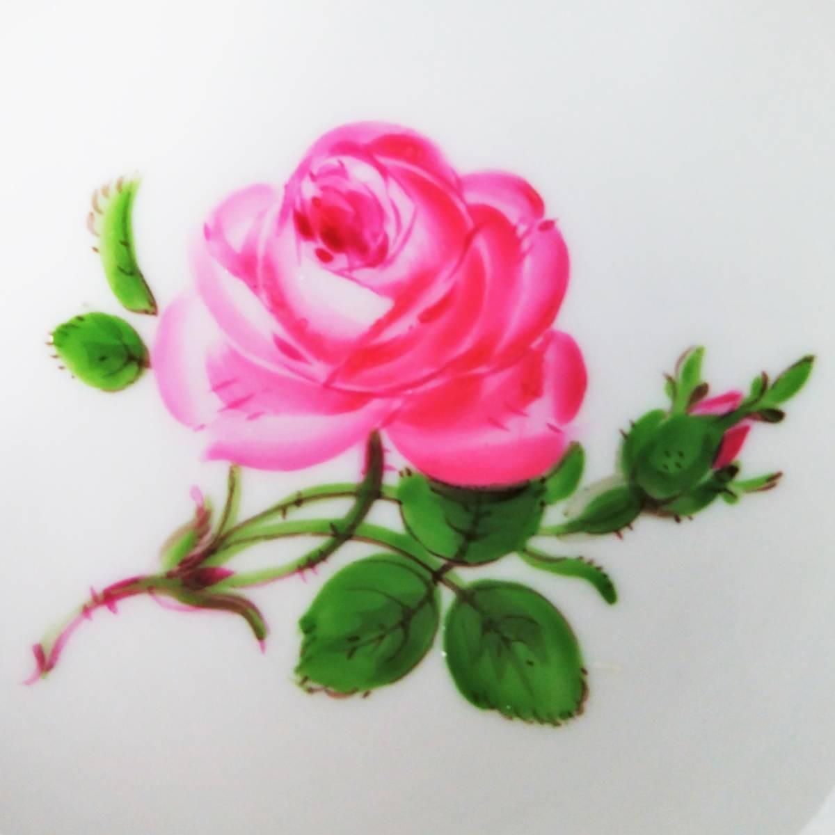 稀少◆Meissen マイセン ピンクローズ 皿 ミニプレート 8cm 2枚セット 119◆ピンクのバラ 薔薇 金彩 小皿 飾皿 デザートプレート ドイツ_画像5