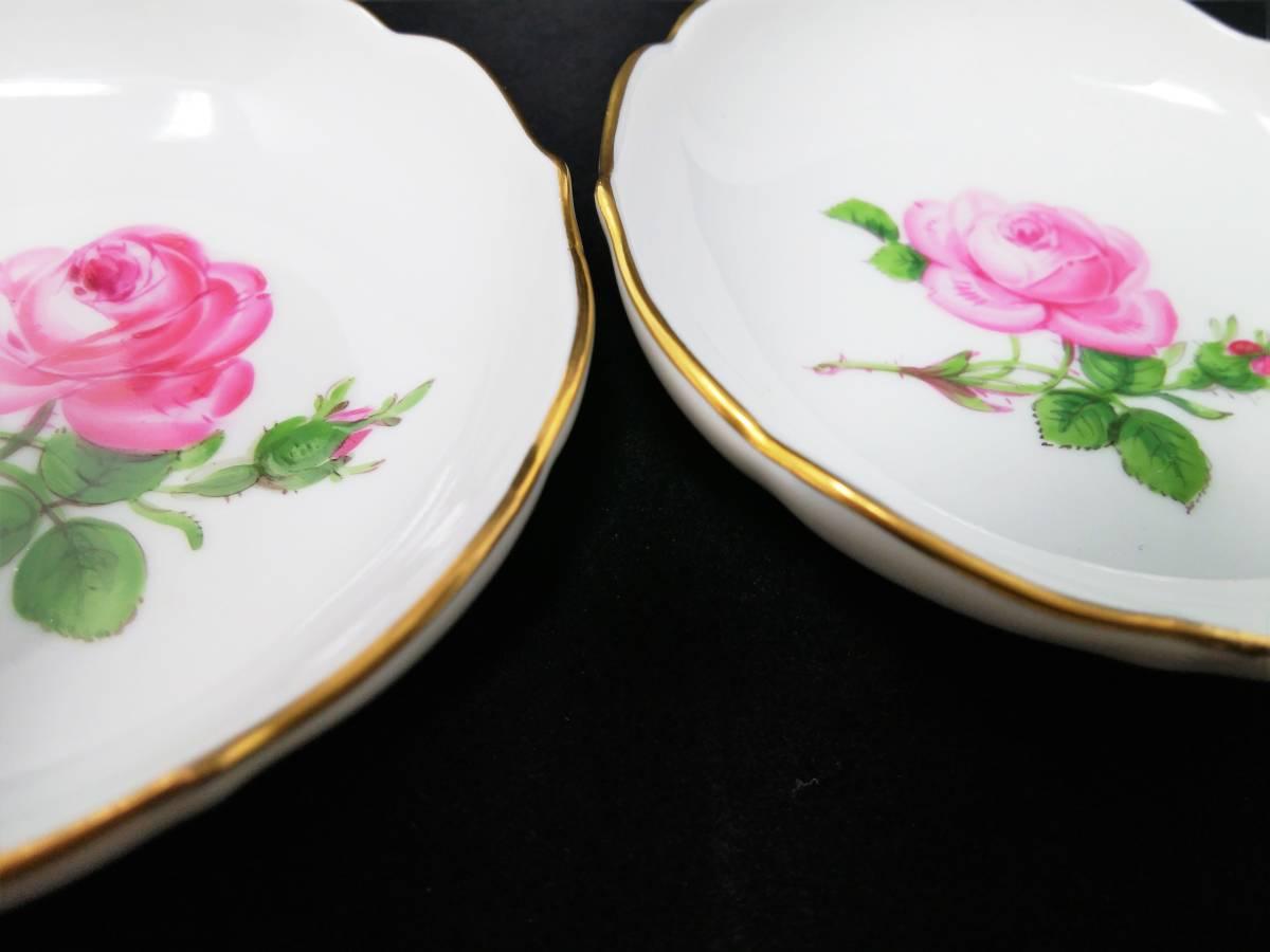 稀少◆Meissen マイセン ピンクローズ 皿 ミニプレート 8cm 2枚セット 119◆ピンクのバラ 薔薇 金彩 小皿 飾皿 デザートプレート ドイツ_画像2