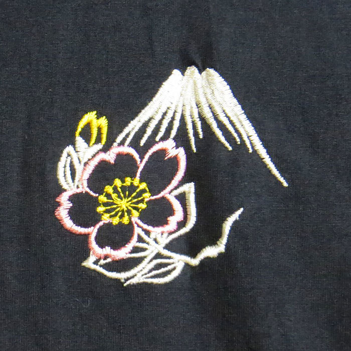 special price! men's T-shirt short sleeves black black L size Japanese style embroidery [mb-1-1908-O-2]