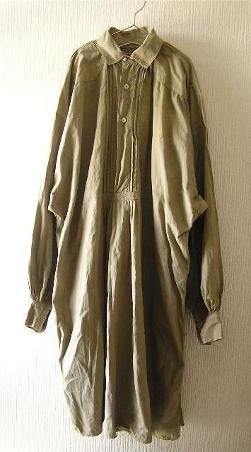 フランスビンテージアンティーク〇後染めリネンワーキングスモックシャツ〇1910's1920's