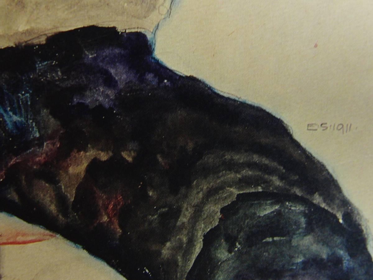 エゴン・シーレ、【スカートをめくりあげた黒髪の少女】、大判・希少な画集画、状態良好、新品額装付 送料無料、人物画 絵画_画像2