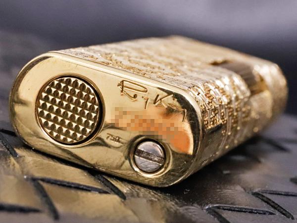 伝説の英国最高峰メゾン ロイキング 金無垢 K18スリーカラーゴールド バケットメッシュライター 喫煙具 750 YG PG WG ROYKING 本物_画像7