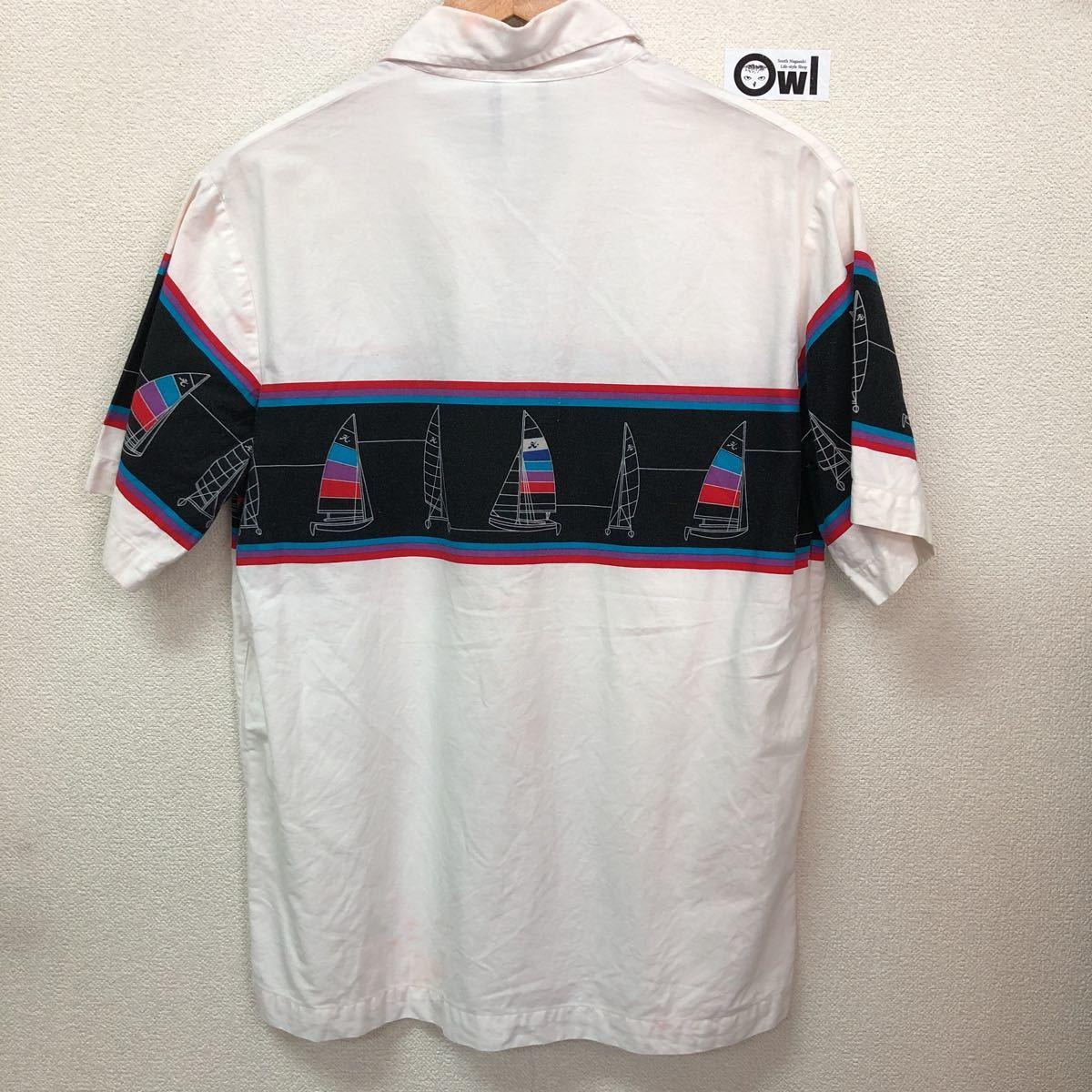 80sホビーコットンアロハシャツMサイズウィンドサーフィン半袖シャツ開襟オープンカラーボックスタイプオールドサーフハンテンビラボン_画像2