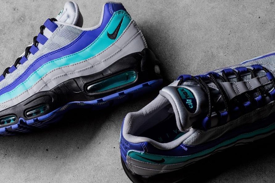 USA購入 Nike Air Max 95 OG WolfGrey ナイキ エアマックス 95 OG ウルフグレー/インディゴ バースト/ハイパー ジェイド US6 JP24cm_画像2