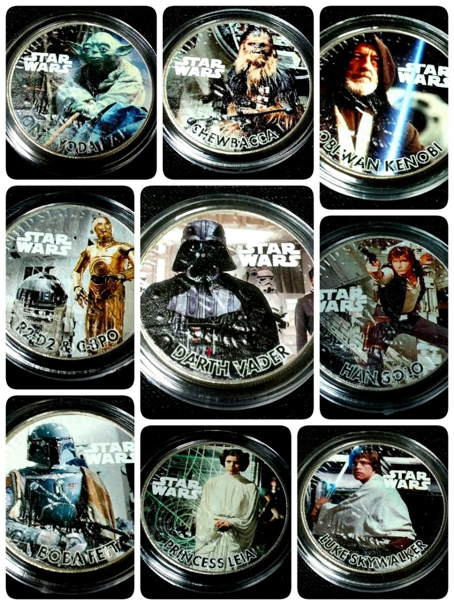 1円スタート!スターウォーズファン必見!Star Warsの1977年IKE1$9枚セット、ルーカスフィルム公認COA。本物のアメリカ法定通貨_画像9