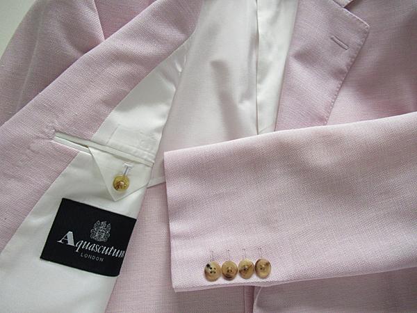 新品◆9,7万円 清涼 日本製★Aquascutum アクアスキュータム★麻・シルク混ウールジャケット AB7 ピンク_画像3