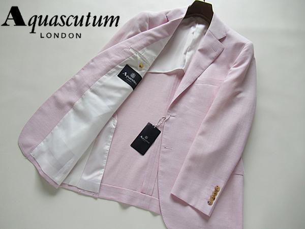 新品◆9,7万円 清涼 日本製★Aquascutum アクアスキュータム★麻・シルク混ウールジャケット AB7 ピンク