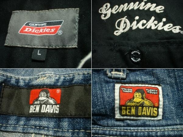 上下セットDickiesチェーンステッチ刺繍ブラックワークシャツ& BEN DAVISデニムカーゴショートパンツ美品L-W32ディッキーズ&ベンデイビス_画像3