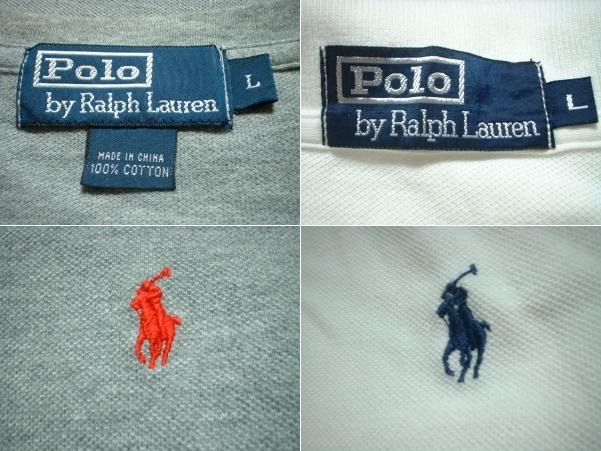超お得2着セットRalph Laurenワンポイント鹿の子Tシャツ&ポロシャツL正規ラルフローレングレー&白ホワイトPOLO_画像3