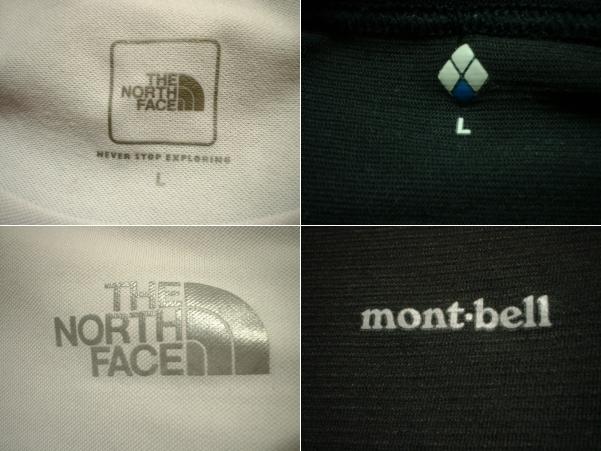 超お得2着セットTHE NORTH FACE & mont bell速乾性ドライフィットTシャツ美品Lアイボリー&黒ブラック正規ノースフェイス&モンベルOUTDOOR_画像3