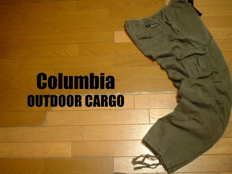 ColumbiaトレイルパスアウトドアカーゴパンツXLカーキオリーブ正規コロンビアOUTDOORベルクロCARGOアウトドア