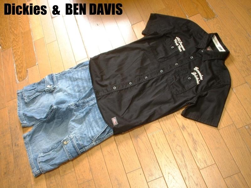 上下セットDickiesチェーンステッチ刺繍ブラックワークシャツ& BEN DAVISデニムカーゴショートパンツ美品L-W32ディッキーズ&ベンデイビス