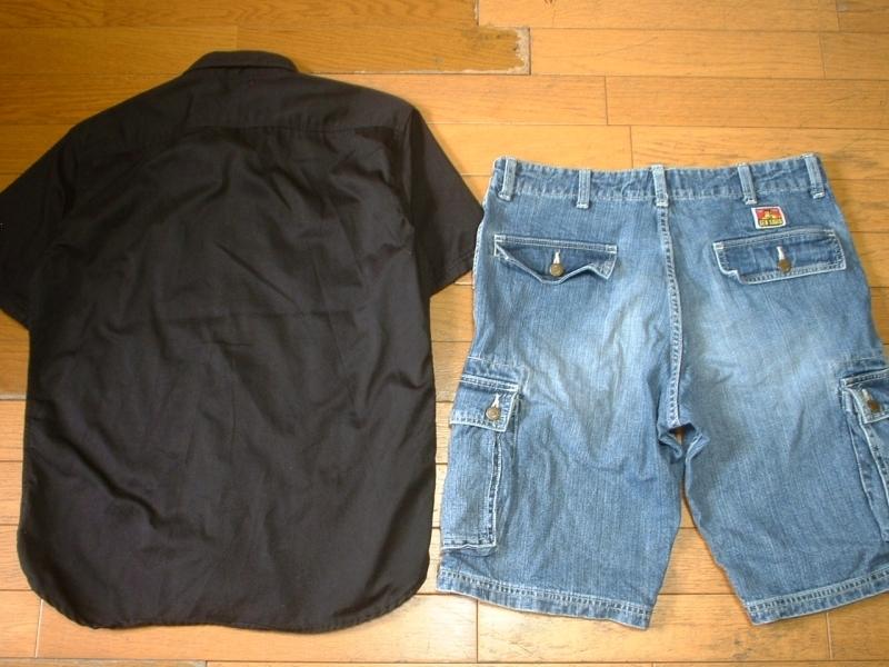 上下セットDickiesチェーンステッチ刺繍ブラックワークシャツ& BEN DAVISデニムカーゴショートパンツ美品L-W32ディッキーズ&ベンデイビス_画像2