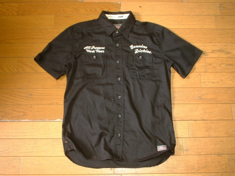 上下セットDickiesチェーンステッチ刺繍ブラックワークシャツ& BEN DAVISデニムカーゴショートパンツ美品L-W32ディッキーズ&ベンデイビス_画像4