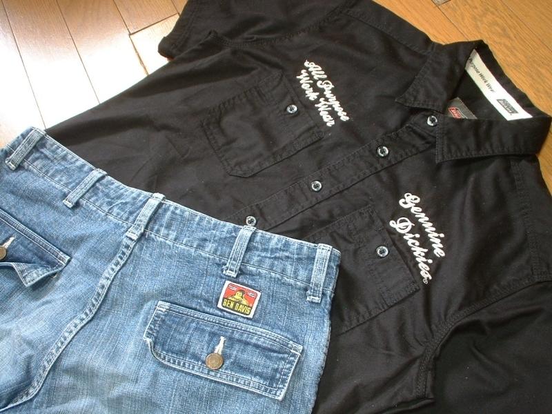 上下セットDickiesチェーンステッチ刺繍ブラックワークシャツ& BEN DAVISデニムカーゴショートパンツ美品L-W32ディッキーズ&ベンデイビス_画像6