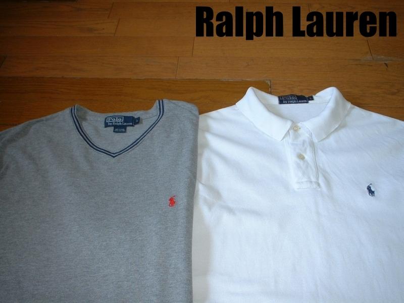 超お得2着セットRalph Laurenワンポイント鹿の子Tシャツ&ポロシャツL正規ラルフローレングレー&白ホワイトPOLO