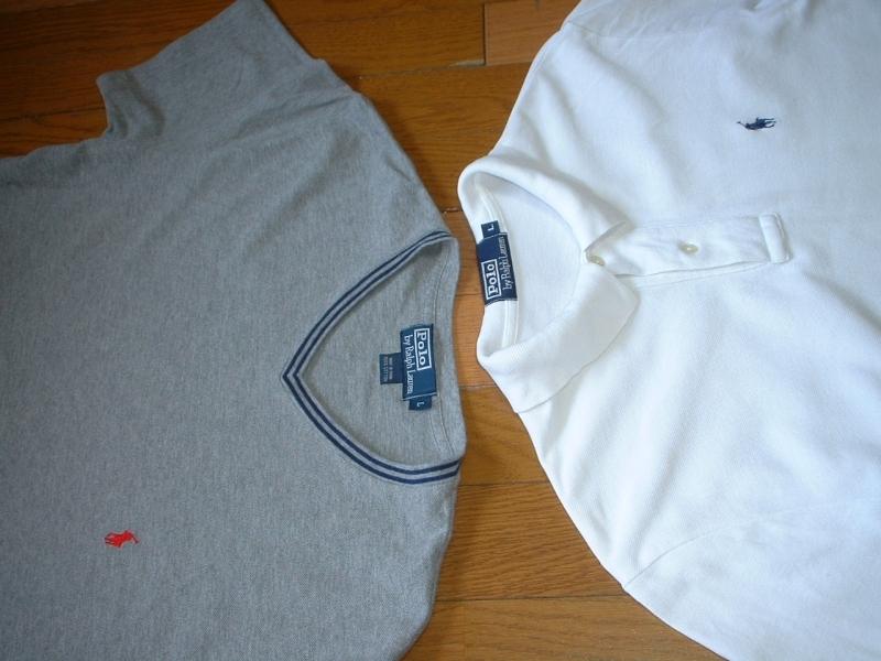 超お得2着セットRalph Laurenワンポイント鹿の子Tシャツ&ポロシャツL正規ラルフローレングレー&白ホワイトPOLO_画像6