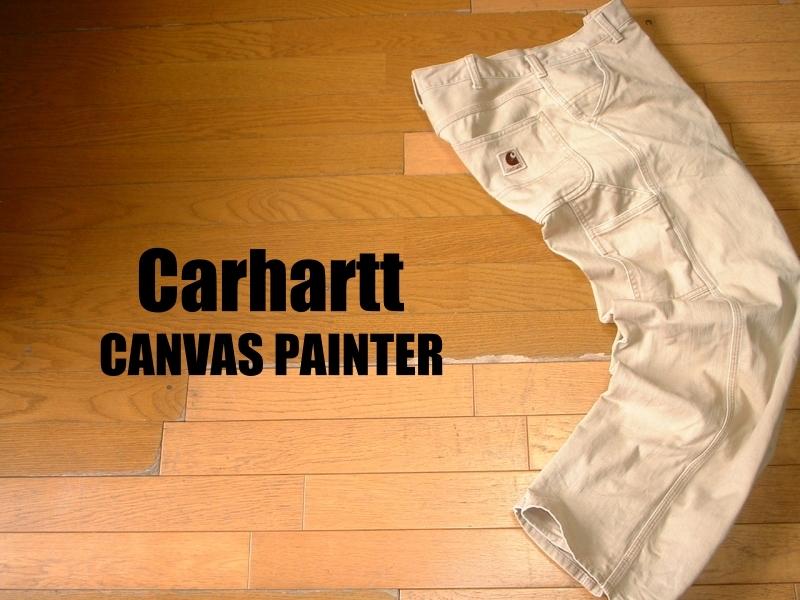 CarharttキャンバスペインターパンツW30ベージュ正規カーハートLot.0083 CANVASダックPAINTER PANTS