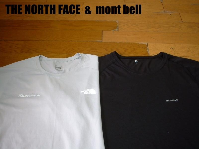 超お得2着セットTHE NORTH FACE & mont bell速乾性ドライフィットTシャツ美品Lアイボリー&黒ブラック正規ノースフェイス&モンベルOUTDOOR