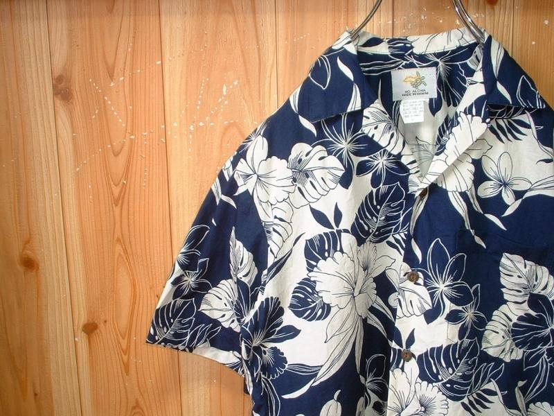 ハワイ製HO ALOHAビンテージハワイアンアロハシャツお勧め美品USA-S正規MADE IN HAWAIIインディゴxホワイトVintageレインスプーナー_画像2