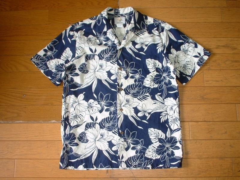 ハワイ製HO ALOHAビンテージハワイアンアロハシャツお勧め美品USA-S正規MADE IN HAWAIIインディゴxホワイトVintageレインスプーナー_画像4