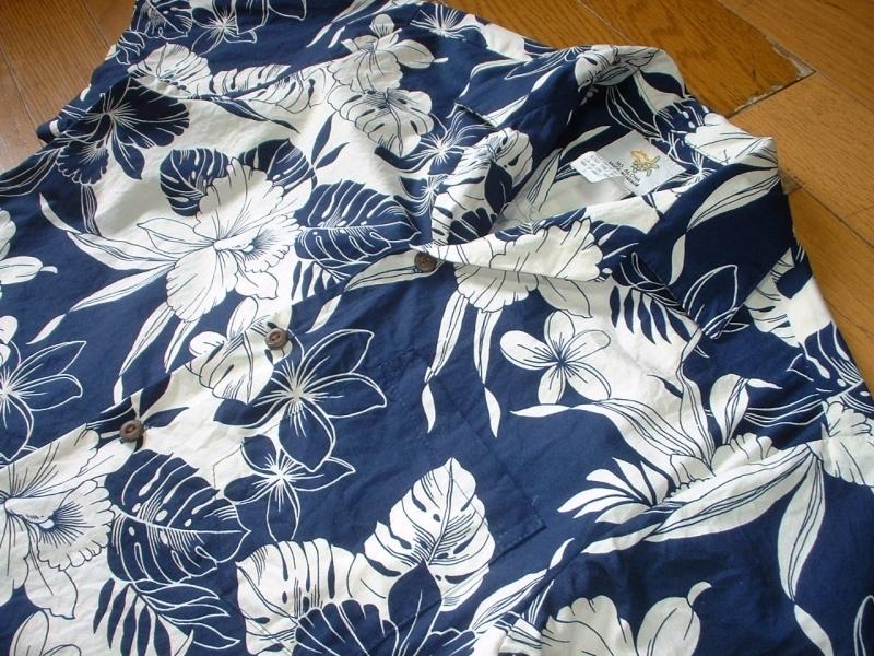 ハワイ製HO ALOHAビンテージハワイアンアロハシャツお勧め美品USA-S正規MADE IN HAWAIIインディゴxホワイトVintageレインスプーナー_画像6