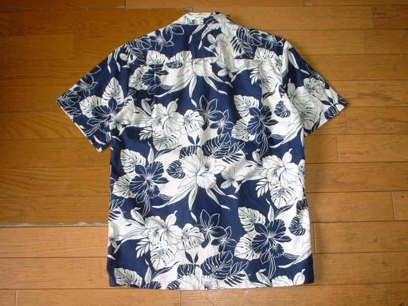 ハワイ製HO ALOHAビンテージハワイアンアロハシャツお勧め美品USA-S正規MADE IN HAWAIIインディゴxホワイトVintageレインスプーナー_画像5