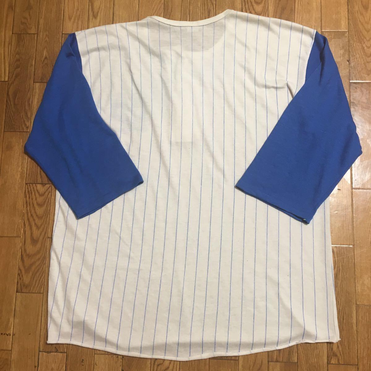 80s USA製 ARTEX ヘンリーネックシャツ 七分袖 青 白 ストライプ サイズ不明 実寸XLサイズ 古着 ヴィンテージ ナンバリング ベースボール_画像6