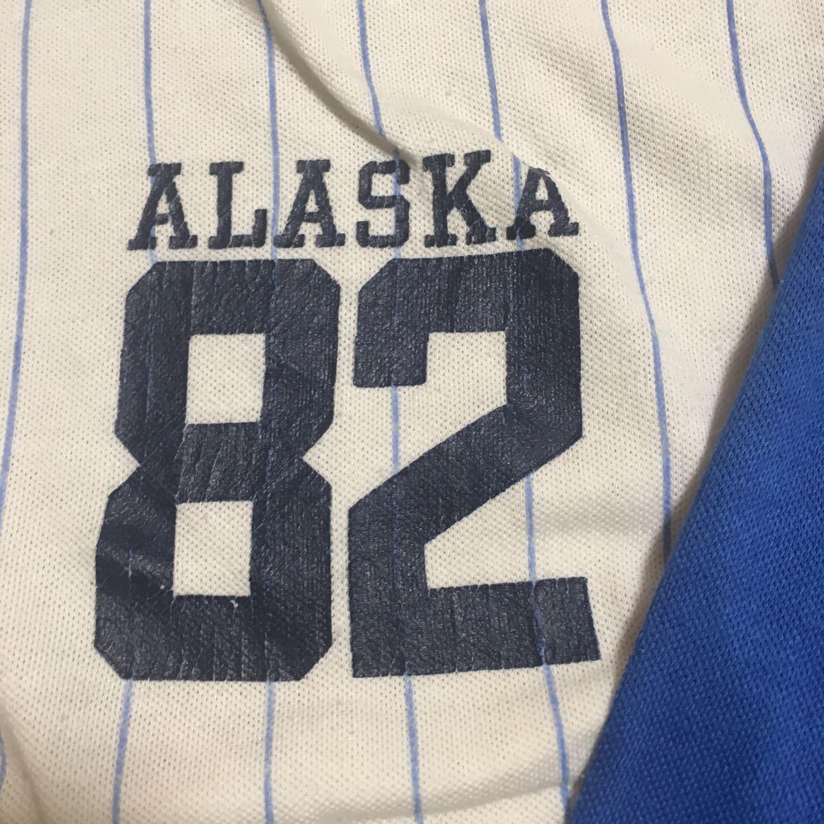 80s USA製 ARTEX ヘンリーネックシャツ 七分袖 青 白 ストライプ サイズ不明 実寸XLサイズ 古着 ヴィンテージ ナンバリング ベースボール_画像3