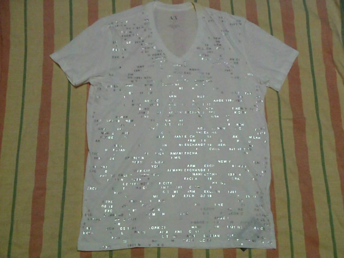 送料無料 難あり 汚れ有り 紙タグ付き 未使用品 ARMANI EXCHANGE A|X アルマーニ エクスチェンジ Tシャツ 白色 Lサイズ