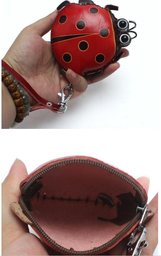 372 レディース 小銭入れ、コインケース 財布 Handmade 手作り 本革 レザー かわいい 可愛い てんとう虫 人気 素敵 通勤出張旅行_画像5