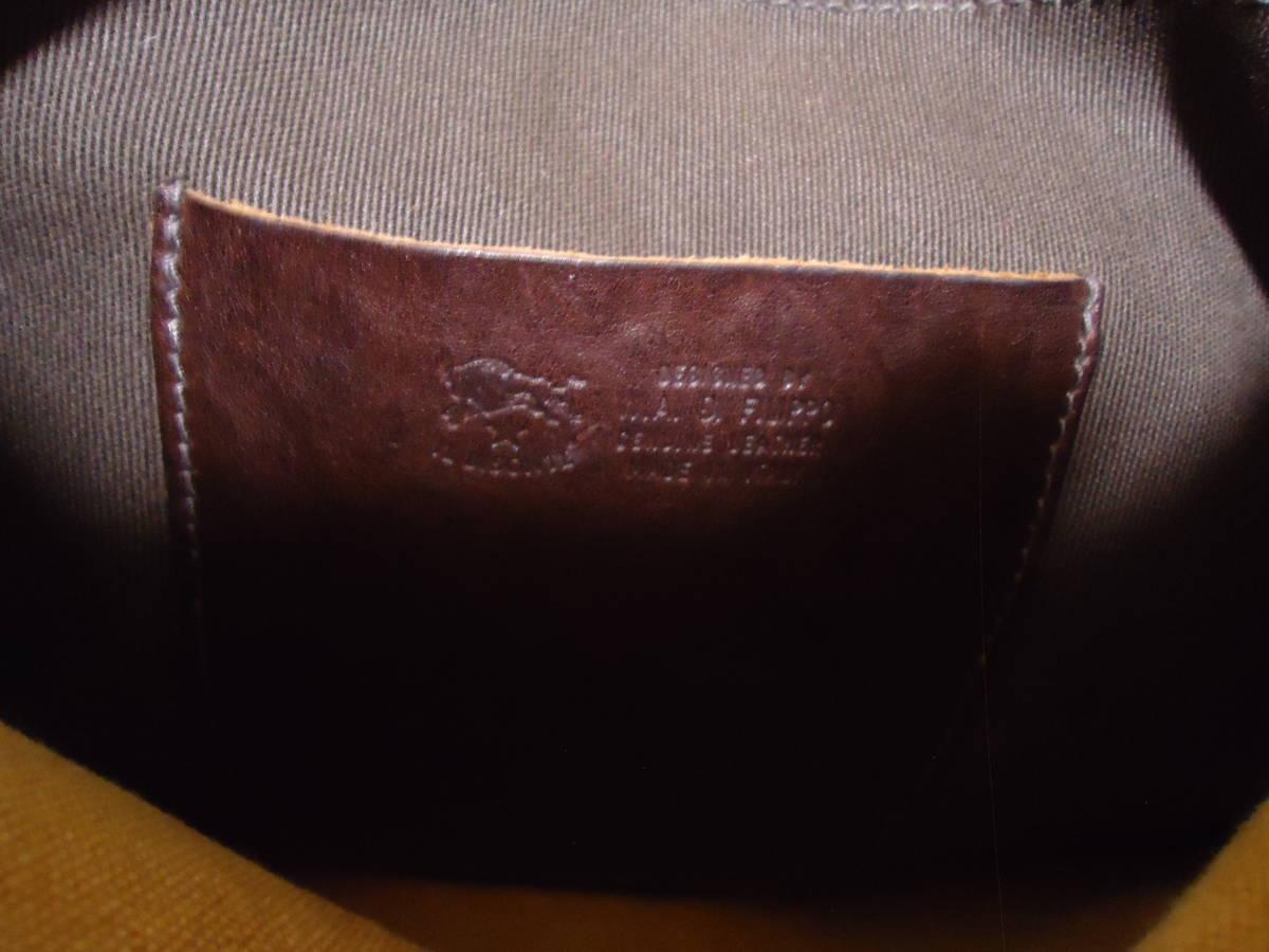 ◆イルビゾンテ◆イタリア製オイルヌメ革とキャンバスのコンビ 軽く個室3室の機能的な斜め掛け 美良品_画像3