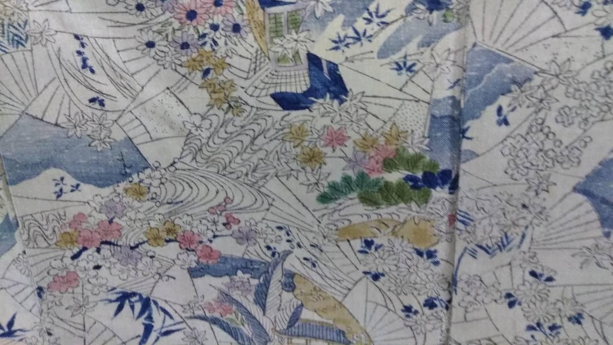 ブラウングレーまたは淡いグリーングレーの地色、紬のきもの、後染め小紋の柄、アンティーク、面白い、正絹_画像1