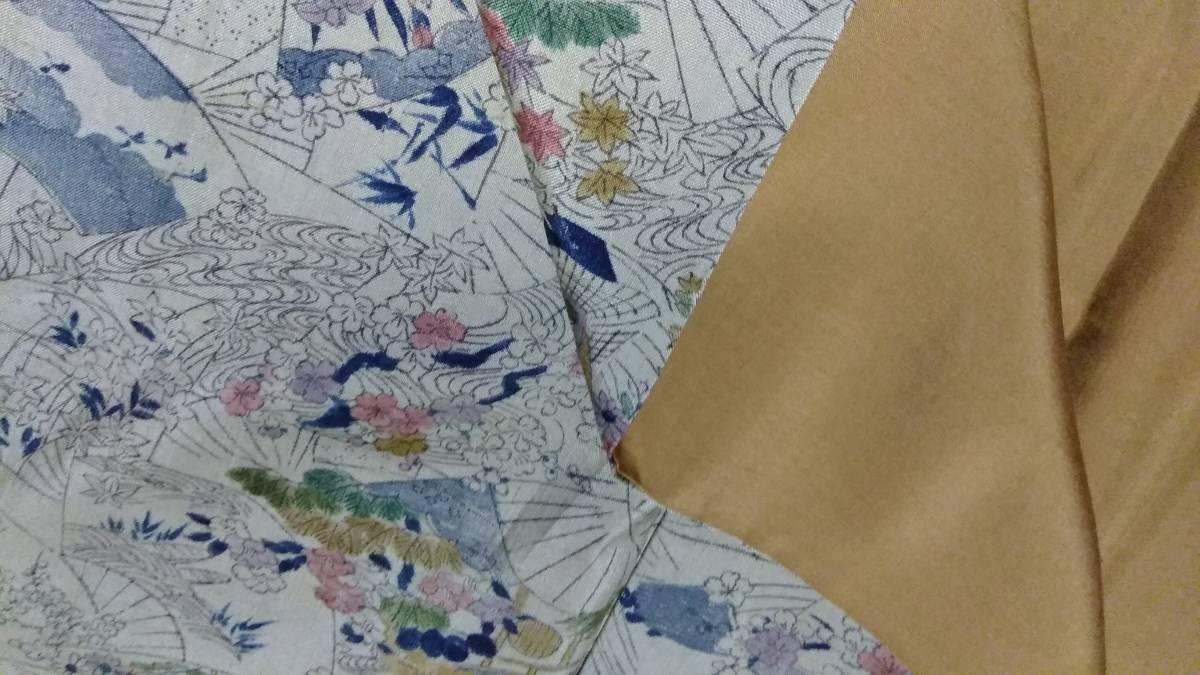 ブラウングレーまたは淡いグリーングレーの地色、紬のきもの、後染め小紋の柄、アンティーク、面白い、正絹_画像10
