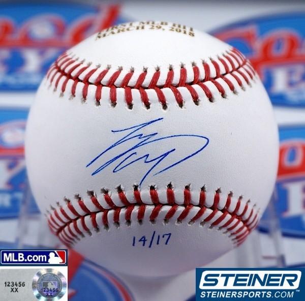 GE★限定版!大谷翔平2018年直筆サイン3月29日MLBデビュー・初ヒットMLB公式ボール+写真セット・スタイナー社証明書+MLB機構証明☆イチロー