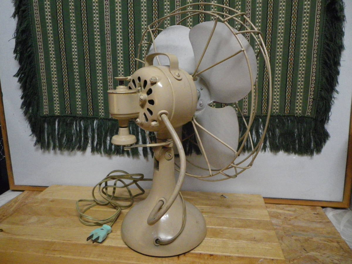 昭和レトロ ★アンティーク 卓上扇風機 ホーロー4枚羽 TOSHIBA・C ERECTORIC FUN ADS-30R-I_画像4