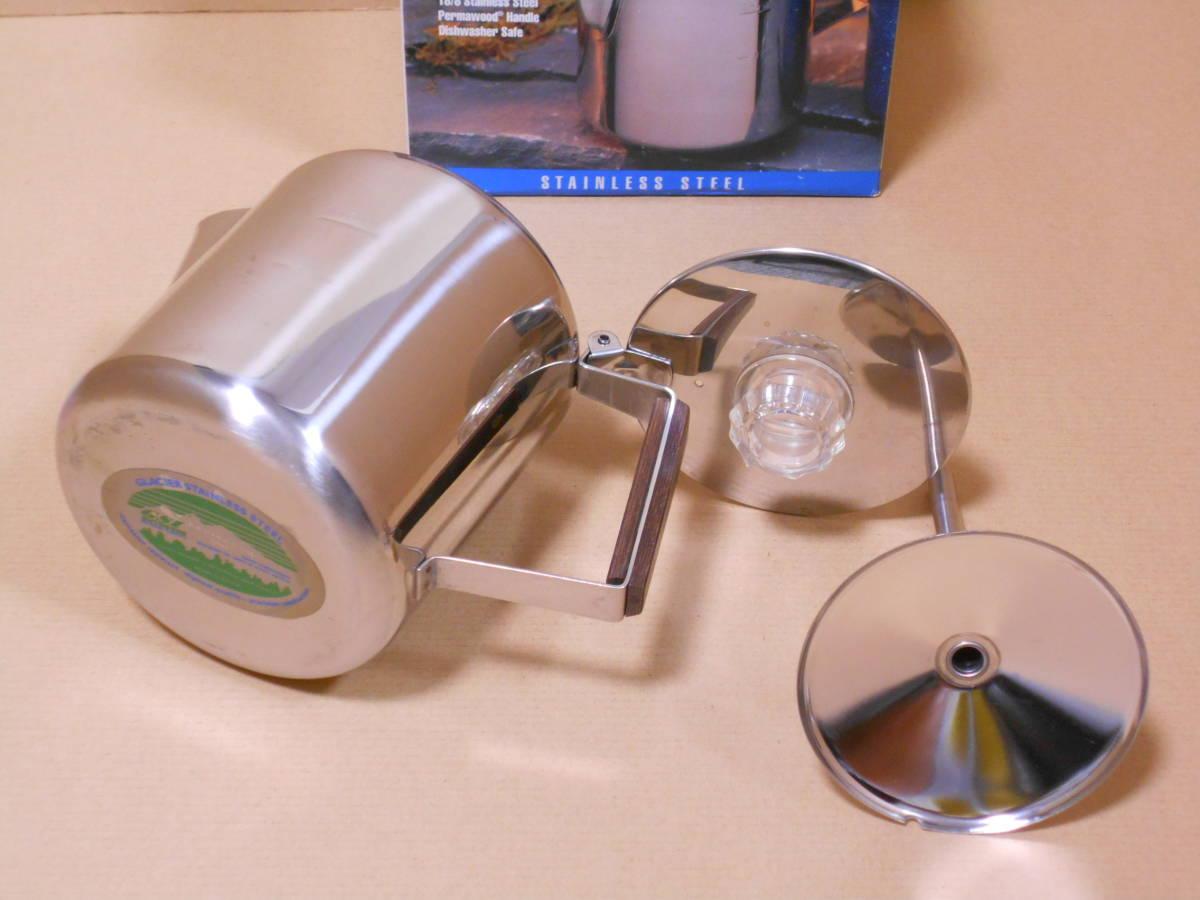 ■GSI 6カップ ステンレス パーコレーター ケトル 1度の使用 検/モチヅキ コーヒー 木製 ウッドハンドル_画像3